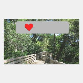 Sticker Rectangulaire Pont en bois sur le chemin à Geocaching