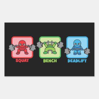 Sticker Rectangulaire Posture accroupie, banc à presse, Deadlift -