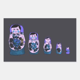 Sticker Rectangulaire Poupées russes pourpres d'emboîtement