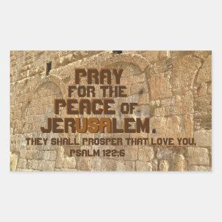 Sticker Rectangulaire Priez pour la paix de Jérusalem, 122:6 de psaume