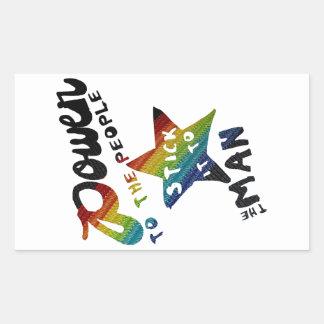Sticker Rectangulaire Puissance aux personnes (rétro correction
