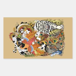 Sticker Rectangulaire quatre animaux célestes
