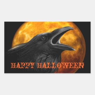 Sticker Rectangulaire Raven déplaisant et lune de Halloween