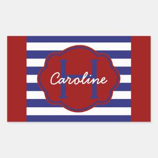 Sticker Rectangulaire Rayure bleue et blanche classique personnalisée