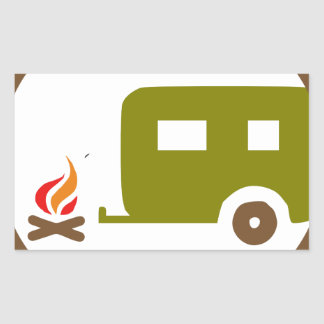 Sticker Rectangulaire Remorque et feu de camp du camping rv