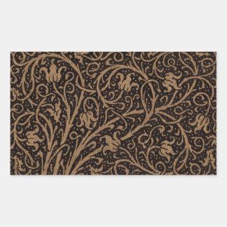 Sticker Rectangulaire Remous floraux vintages de Brown