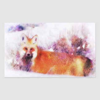 Sticker Rectangulaire Repos de Fox rouge d'aquarelle