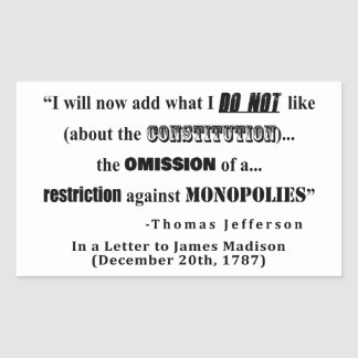 Sticker Rectangulaire Restriction à la citation de Thomas Jefferson de