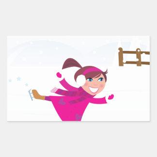 Sticker Rectangulaire Rose d'enfant de patinage de glace