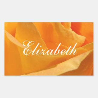 Sticker Rectangulaire Rose jaune personnalisé