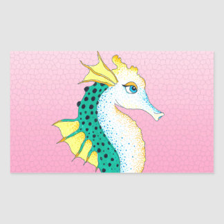 Sticker Rectangulaire rose turquoise d'hippocampe