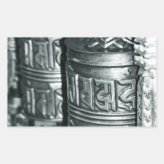 Sticker Rectangulaire Roues de prière bouddhistes