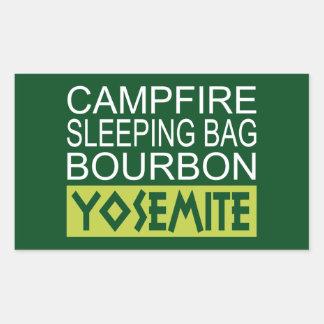 Sticker Rectangulaire Sac de couchage de feu de camp Bourbon Yosemite