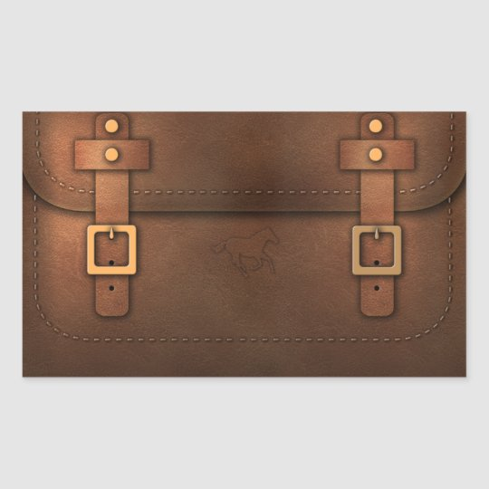 Sticker Rectangulaire sacoche cuir Pony Express
