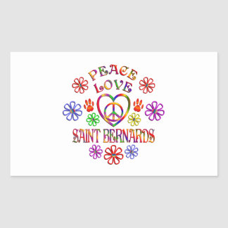 Sticker Rectangulaire Saint Bernards d'amour de paix