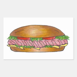 Sticker Rectangulaire Sandwich à sous-marin de héros de broyeur de