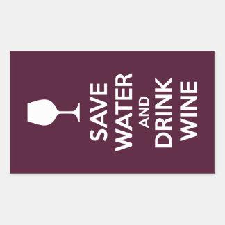 Sticker Rectangulaire Sauvez l'eau et buvez du vin