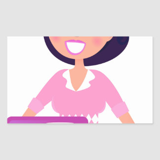 Sticker Rectangulaire Secrétaire extraordinaire fille avec l'ordinateur