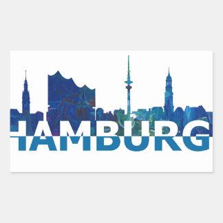 Sticker Rectangulaire Silhouette d'horizon de Hambourg