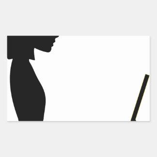 Sticker Rectangulaire Silhouette femelle d'ordinateur