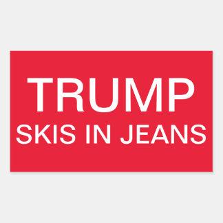Sticker Rectangulaire Skis d'atout dans des jeans