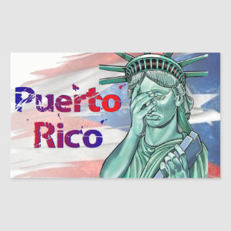 Sticker Rectangulaire Soulagement de Porto Rico. Honte sur vous atout !