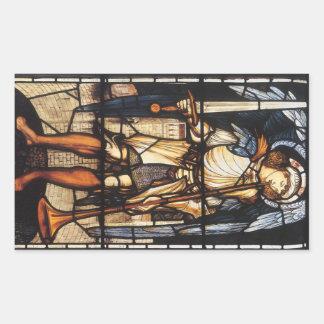 Sticker Rectangulaire St Michael par Burne Jones, Arkhangel vintage