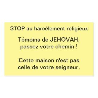 Sticker Rectangulaire Stop aux harcèlements religieux