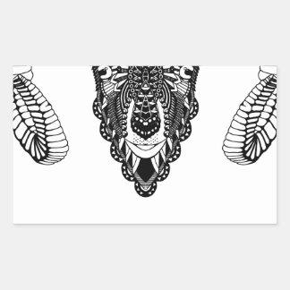 Sticker Rectangulaire Style de mandala de dessin de RAM