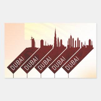 Sticker Rectangulaire Style de voyage de ville de Dubaï