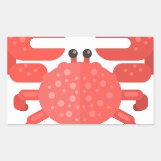 Sticker Rectangulaire Style rose de primitif de crabe