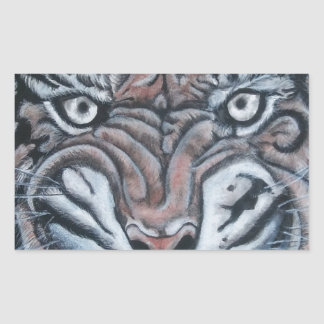Sticker Rectangulaire Sur le Bord-Tigre