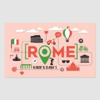 Sticker Rectangulaire Symboles iconiques de Rome, Italie