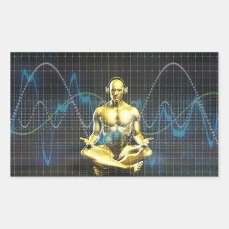 Sticker Rectangulaire Système de son de l'avenir avec le jeu d'écouteurs