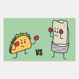 Sticker Rectangulaire Taco contre le burrito