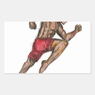 Sticker Rectangulaire Tatouage thaïlandais de combattant de boxe de Muay