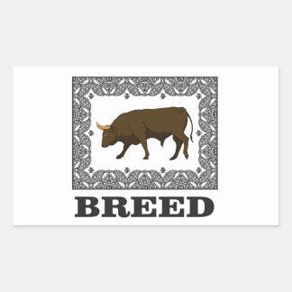 Sticker Rectangulaire taureau encadré de race