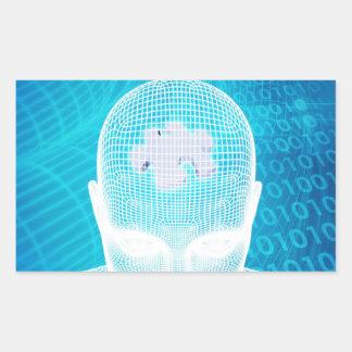 Sticker Rectangulaire Technologie futuriste avec la puce d'esprit humain