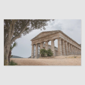 Sticker Rectangulaire Temple grec chez Segesta, Sicile