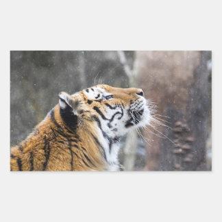 Sticker Rectangulaire Tigre pensif d'hiver