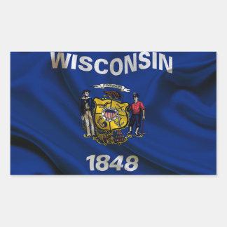 Sticker Rectangulaire Tissu de drapeau du Wisconsin