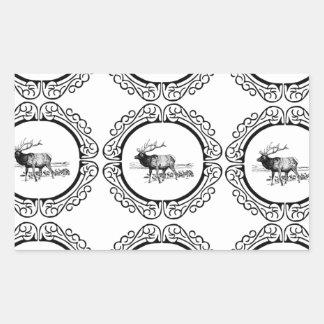 Sticker Rectangulaire troupeau d'élans dans le groupe