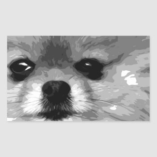 Sticker Rectangulaire Un Pomeranian noir et blanc