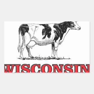 Sticker Rectangulaire vache rouge au Wisconsin