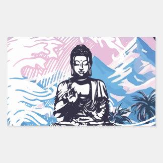 Sticker Rectangulaire Vague de montagne tropicale de Bouddha