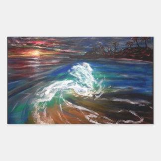 Sticker Rectangulaire vague de plage