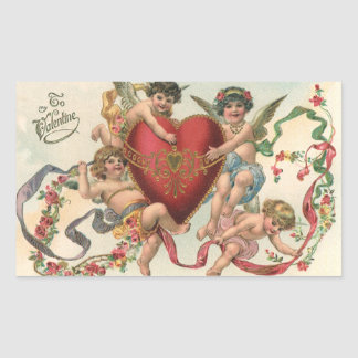 Sticker Rectangulaire Valentines victoriens vintages, coeur d'anges