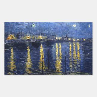 Sticker Rectangulaire Van Gogh : Nuit étoilée au-dessus du Rhône