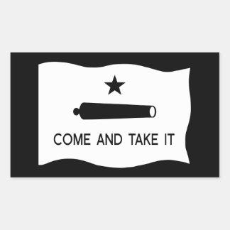 Sticker Rectangulaire Venez il falloir le ~ le Texas de drapeau