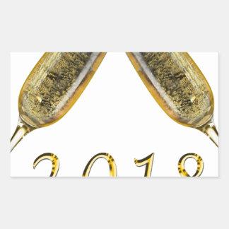 Sticker Rectangulaire Verres 2018 de Champagne